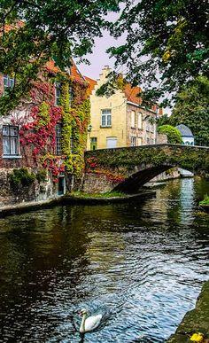 Scenic canal in Bruges, Belgium- contando os dias ❤️