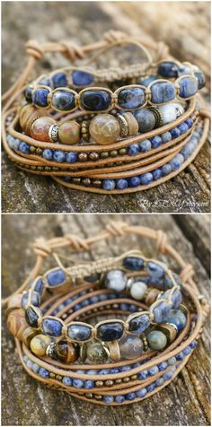 "Set of 3 Boho ""Tidal Breeze"" Multistrand Stack Bracelets, Bohemian Rustic Ocean Beachy Gypsy Stretch 5x Wrap Leather Jewelry Bracelets ByLEXY"