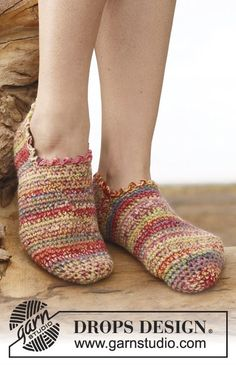 """Alina / DROPS - free crochet patterns by DROPS design - Crochet DROPS slippers with 2 threads """"Fabel"""". Sizes 35 – ~ DROPS design You are in the right - Crochet Crafts, Free Crochet, Knit Crochet, Simple Crochet, Knitted Slippers, Slipper Socks, Crochet Boots, Crochet Clothes, Crochet Slipper Pattern"""