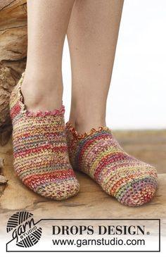 Crochet DROPS slippers in 2 threads Fabel. Size 35 - 43. ~ DROPS Design
