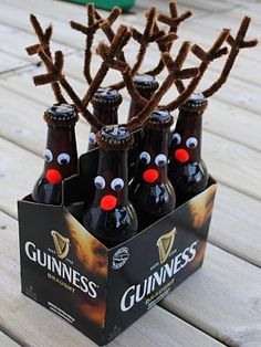 Reindeer Beer or Rootbeer Antlers ~ Just wrap brown pipe cleaners around the tops of the bottles, and twist smaller pieces around to make antlers. Hot glue on googly eyes and red pom poms on and your done! Easy peasy!