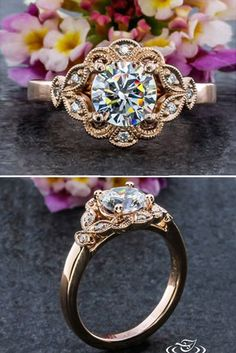 awesome Bague de Fiançailles - Tendance 2017/2018 : 18 Outstanding Floral Engagement Rings ❤ Floral ring designs are very multifun...