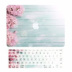 """TOP CASE – 2 in 1 Bundle Deal Vibrant Summer Graphics Rubberized Hard Case (13"""" Diagonally) + Keyboard Cover for MacBook Air 13"""" Model A1369/A1466 - Pink Hyacinth Turquoise Wooden"""