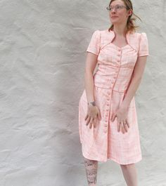 Vintage white and orange linen dress from Colette's Ceylon pattern. Handmade piping and covered buttons.