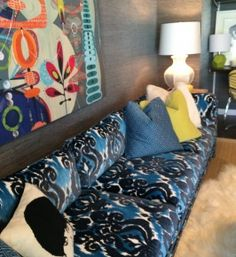 Atlanta-based design duo Parker Kennedy Living used Robert Allen fabrics exclusively for a mod den in the Modernism Week Showhouse in Palm Springs, California.  @parkerkennedy