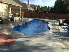 We installed this Maya Diamond Series pool with perimeter tile and two deck jets. Pool Ideas, Backyard Ideas, Fire Pit Near Pool, Trilogy Pools, Viking Pools, Aqua Pools, Inground Pool Designs, Fiberglass Swimming Pools, Outdoor Ideas