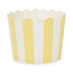 fancyflours - Yellow Color Shop - Muffin Cup Scalloped Stripe Yellow Pkg of 25