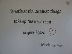 Sometimes the smallest things take up the most room in your heart - Winnie the Pooh. Vinyl wall quote for baby nursery, made with the Silhouette Cameo.
