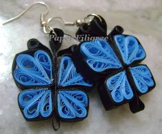 Butterfly quilled earring