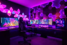Best Gaming Setup, Gaming Room Setup, Cool Gaming Setups, Ultimate Gaming Setup, Bedroom Setup, Room Ideas Bedroom, Computer Gaming Room, Gaming Rooms, Video Game Rooms