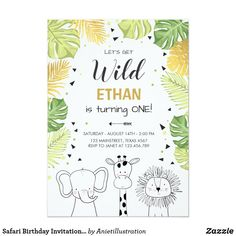 Safari Birthday Invitation Zoo Wild Jungle animals ♥ A perfect way to invite your guests to your little one's birthday party! With a zoo safari theme. Custom birthday party invitations / invites #invitations #invites #birthdayparty