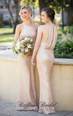 Sorella Vita #8846 - A sequin style bridesmaid dres with bateau halter neckline and cowl keyhole back.
