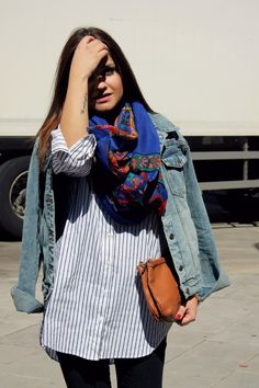 Denim jacket, striped shirt and colorful scarf. Little black coconut style.