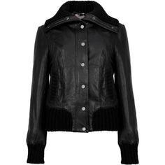 Rib trim leather bomber jacket ($280) ❤ liked on Polyvore featuring outerwear, jackets, bomber style jacket, ted baker jacket, 100 leather jacket, blouson jacket and real leather jacket
