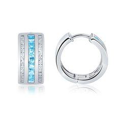 Angara.com: Square Aquamarine and Diamond Hoop Earrings