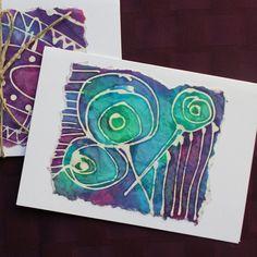 Batik Abstract Notecards Batik Cards Paper Goods by fishwarp