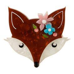 Flora Fox Face (Brown Resin Brooch)