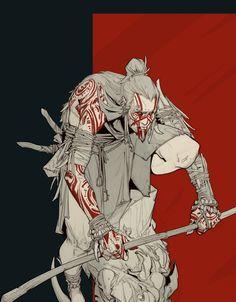 Demon Tribe Warrior - miniature concept, Timofey Stepanov on ArtStation at https://www.artstation.com/artwork/4gnak