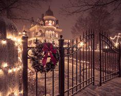Seiberling Mansion Christmas Photography Christmas Wall Decor Christmas Lights Mansion Pink Snow Kokomo Indiana Holiday Wall Decor (25.00 USD) by PaulaGoffPhotography