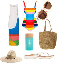Sustainable beachwear #1 cut-out one piece from Mara Hoffman, Madewell, vintage sunglasses, Coola, and SOLE sandals