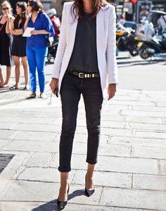 White Blazer and Black Pants #fashion #style