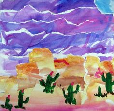 watercolor ripped paper desert landscape