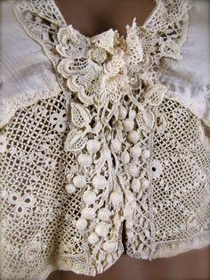 Antique Irish Crochet & Mixed Lace Silk Lingerie Blouse (no pattern) Irish Crochet Patterns, Crochet Stitches, Crochet Blouse, Crochet Lace, Free Crochet, Antique Lace, Vintage Lace, Lace Silk, Lace Fabric
