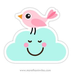 Cute bird on happy cloud sticker Cute sticker featuring a little pink cartoon bird standing on top of a happy, smiling cloud. Cute and fun illustration. Kawaii Stickers, Cute Stickers, Image Clipart, Bird Stand, Cartoon Birds, Tumblr Stickers, Fun Illustration, Dibujos Cute, Pink Bird