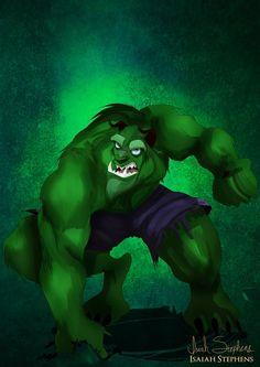 Beast as The Hulk / 10 Disney Heroes Dressed Up In Awesome Halloween Costumes via Artist Isaiah Stephens (via BuzzFeed)