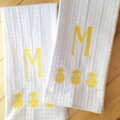 Monogram Waffle Weave Kitchen Towel With Pineapple Monogram Dish Towel... ($17) ❤ liked on Polyvore featuring home, kitchen & dining, kitchen linens, dishcloths & kitchen towels, home & living, linens, silver, waffle weave dish cloths, monogrammed dish towels and white waffle weave kitchen towels