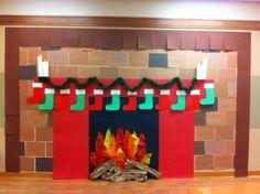 Construction paper fireplace | Christmas | Pinterest ...