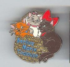 Berlioz, Marie Toulouse authentic Disney Aristocats pin/pins