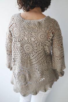 NEW Spring 2014 Latte Crochet Sweater by Afra от afra на Etsy