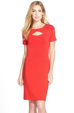 Vince Camuto Vince Camuto Keyhole Detail Jersey Stretch Sheath Dress (Regular & Petite) available at #Nordstrom