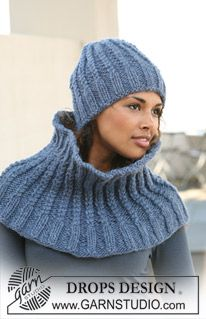 "Set comprises: Knitted DROPS hat and neck warmer in twisted rib in ""Eskimo"". ~ DROPS Design"