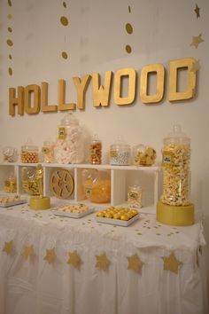 Gold and White Hollywood Sweet Table - Bespoke Party Styling this would be cute for Hollywood grad party