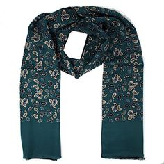 Shop Mens Vintage Tassled Scarf - Turqoise Green Paisley, Multicoloured, Free delivery and returns on eligible orders. Paisley Scarves, Vintage Men, Alexander Mcqueen Scarf, Turquoise, Amazon, Green, Shopping, Fashion, Moda