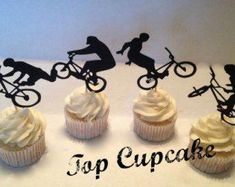 BMX Bicycle Cupcake Toppers by TopCupcake on Etsy 13 Birthday Cake, Harry Birthday, 2nd Birthday Parties, Boy Birthday, Birthday Board, Bmx Cake, Bike Cakes, Bicycle Party, Bmx Bicycle