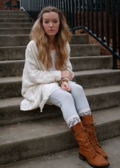 TrendyLindy: Winter white. Nasty Gal, Target, Madwell, fashion, street style, steve madden, combat boots, leggings, baggy sweater, blonde hair, big hair, curls, wavy hair, neutrals, caramel boots, pleated skirt, winter wear.