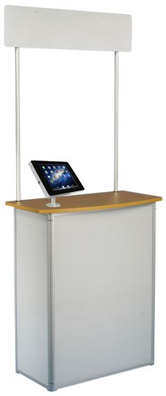 """31""""W Portable Counter with Inner Shelves & Header, Screw-On iPad Enclosure - White"""