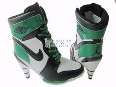 Women Nike Air Jordan 1 High Heels Black White Green http://www.jordan-high-heels-2013.com/