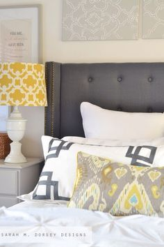 49 Inspiring Sunny Yellow Accents In Bedrooms Ideas : 49 Inspiring Sunny Yellow Accents In Bedrooms Ideas With Grey Yellow Bed Pillow Blanket And Wooden Side Table And Desk Lamp Master Bedroom, Guest Room Colors, Home, Home Bedroom, Bedroom Interior, Master Bedroom Update, Bedroom Pillows, Bed Pillows, Yellow Master Bedroom
