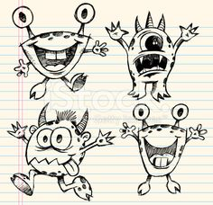 Doodle Sketch Monster Set royalty-free stock vector art