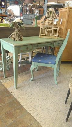 """Two Women and a Warehouse Green desk and super cute pineapple chair!  48"""" wide, 30.5"""" high, 19"""" deep  $250"""