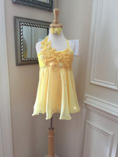 Custom Lyrical Dance Costume in YELLOW with by DiamondandCrystals