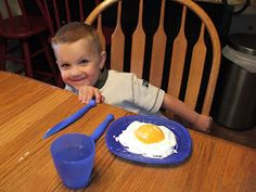 """""""Ostich egg"""" for breakfast! (Cool whip and half a canned peach!)"""