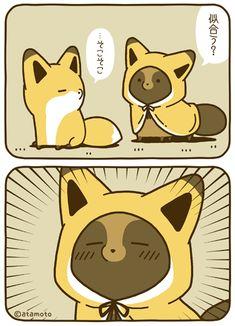 tanuki to kitsune Kawaii Illustration, Cute Kawaii Animals, Kawaii Cute, Kawaii Chibi, Kawaii Anime, Cute Cartoon Wallpapers, The Villain, Cute Characters, Cute Drawings