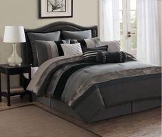 Ashlyn Slate, Silver and Charcoal Gray Comforter Sets by Monroe