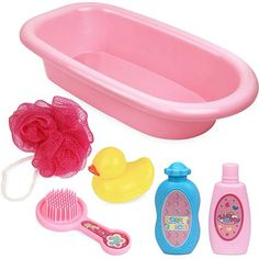 Click N' Play 6 Piece Baby Bathtub Doll Pretend Play Set With Accessories. Image 1 of 5 Baby Dolls For Kids, Real Life Baby Dolls, Little Girl Toys, Newborn Baby Dolls, Baby Girl Toys, Toys For Girls, Kids Toys, Newborn Care, Baby Alive Doll Clothes