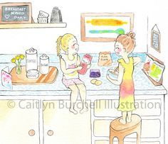 """""""Let's make mummy and daddy the best breakfast EVER!"""" Art by Caitlyn Burchell Illustration Best Breakfast, Watercolor Paintings, To My Daughter, Daddy, Colour, Photo And Video, Comics, Illustration, Pictures"""